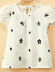 T-shirt Da ragazza Cotone Lino Acrilico Tinta unita Con ricami Primavera Estate Manica corta Standard
