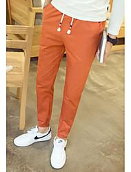 Men's Low Rise Micro-elastic Skinny Pants,Simple Straight Solid