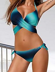 Mujer Bandeau Bikini Monocolor Bloques