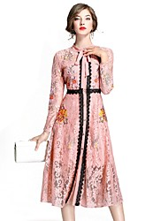 Mujer Corte Swing Vestido Fiesta Noche Casual/Diario Trabajo Vintage Boho Sofisticado,Bordado Escote Chino Midi Manga Larga Nailon Otoño