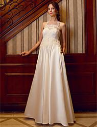 Linha A Ilusão Decote Longo Cetim Vestido de casamento com Miçangas Apliques Penas / Pêlo Bolsos de LAN TING BRIDE®