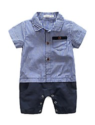 Baby Plaid/Check One-Pieces,Cotton Summer Short Sleeve