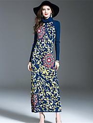 Для женщин На каждый день Оболочка Платье Цветочный принт,Хомут Макси Длинный рукав Шерсть Акрил Осень Зима Со стандартной талией