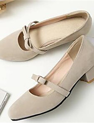 Women's Heels Comfort Nubuck leather PU Spring Casual Almond Black 2in-2 3/4in