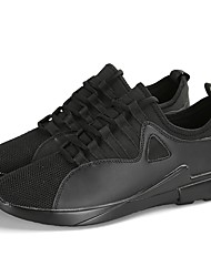 Men's Athletic Shoes Running Comfort Light Soles Knit PVC Leather Fall Winter Athletic Casual Outdoor Low Heel Black White Under 1in