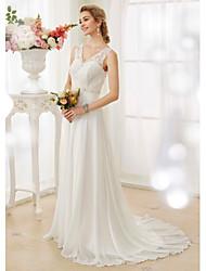Linha A Decote V Cauda Escova Chiffon Renda Vestido de casamento com Miçangas Apliques Botão de Thstylee