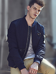 Men's Casual/Daily Vintage Fall Winter Jacket,Solid Stand Long Sleeve Regular Nylon