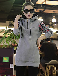 Women's Going out Hoodie Solid Letter Hooded Stretchy Polyester Long Sleeve Spring Fall