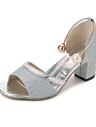 Damen High Heels Pumps Leinen PU Sommer Kleid Party & Festivität Walking Perle Schnalle Block Ferse Gold Silber 12 cm & mehr