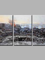 Pintada a mano Famoso Artístico Cool Moderno/Contemporáneo Retro Oficina/ Negocios Navidad Año Nuevo Tres Paneles LienzosPintura al óleo