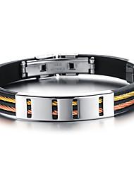 Men's Bracelet Personalized Hip-Hop Handmade Simple Style Costume Jewelry Fashion Titanium Steel Silica gel Circle Geometric Jewelry