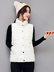 Women's Casual/Daily Simple Winter Vest,Solid Stand Sleeveless Regular Cotton