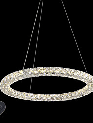 Modern Ring Crystal Ceiling Pendant Lights LED Crystal Chandeliers Light Indoor Lighting Lamps Fixtures Dimmable with Remote Control