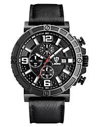 LIEBIG Pánské Vojenské hodinky Náramkové hodinky Křemenný Kalendář Stopky Kůže Kapela Černá