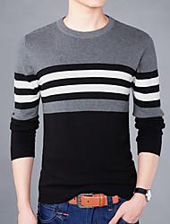 Men's Plus Size Casual Slim O-Neck Stripe 100% Cotton Knit Sweaters