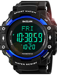 Men's Digital Watch Digital Water Resistant / Water Proof Alarm Pedometer Noctilucent Silicone Band Black