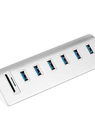6 porte Hub USB USB 3.0 USB 3.0 Micro-B Con lettore di schede (s) Salvataggio dati Protezione ingresso Protezione dall'eccesso di campo
