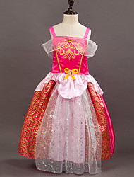 Girl's European And American Fashion Print Suspender Gauze Dress