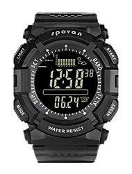 Men's Digital Watch Digital Altimeter Thermometer Water Resistant / Water Proof Pedometer Noctilucent Rubber Band Black