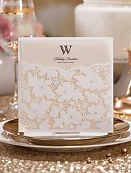 Plis Roulés Invitations de mariage 1-Cartes d'invitation Faire-Parts de Fiançailles Style artistique Papier gaufré Fleurs Nœud
