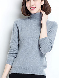 Women's Casual/Daily Simple Regular Pullover,Solid Turtleneck Long Sleeves Cotton Fall Winter Medium Micro-elastic