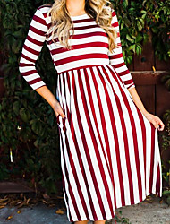 Women's Going out Casual/Daily Street chic Swing Dress,Striped Round Neck Maxi 3/4 Length Sleeves Cotton Fall Mid Rise Inelastic Medium