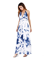 Women's Party Beach Holiday Going out Casual/Daily Sexy Vintage Simple Loose Swing Dress,Floral Halter Maxi Sleeveless RayonAll Seasons