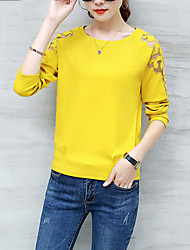 Women's Casual/Daily Simple Street chic Fall T-shirt Solid Round Neck Long Sleeve Polyester Medium