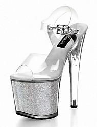 Damen Sandalen formale Schuhe Glitzer PVC Sommer Kleid Party & Festivität Glitter Schnalle StöckelabsatzSchwarz Grau Dunkelgrau Silber