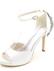 Mujer Zapatos de boda Pump Básico Primavera Verano Satén Boda Fiesta y Noche Pedrería Tacón Stiletto Morado Rojo Azul Champaña Marfil 10