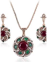 Mulheres Brincos Compridos Colares com Pendentes Diamante Esmeralda Natureza Vintage Jóias de Luxo Bijuterias Destaque Chrismas Strass