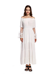 QIBONLENGWomen's Party Going out Work Sexy Vintage Boho Swing DressSolid Boat Neck Maxi L 80-90cm Long Sleeve Cotton All Seasons High Rise