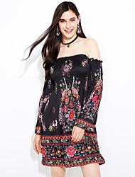 Women's Off The Shoulder|Boho Americstyle explosion models dress print dress in stock