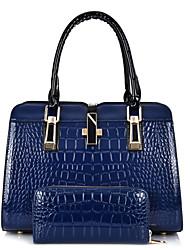 Damen Bag Sets PU Ganzjährig Normal Baguette Bag Reißverschluss Blau Weiß Schwarz Rote