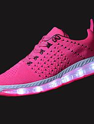Femme Chaussures d'Athlétisme Confort Polyuréthane Printemps Automne Athlétique Marche Lacet LED Talon Plat Noir Gris Fuchsia Bleu royal