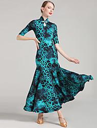 Danse de Salon Femme Spectacle Soie Glacée 1Pièce / Set La moitié des manches Taille moyenne Robe