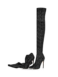 Women's Boots Fashion Boots Fall Winter Elastic Satin Casual Dress Party & Evening Office & Career Polka Dot Stiletto Heel Black 4in-4