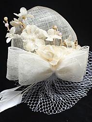 Tulle Mousseline de soie Lin Plume Tissu Filet Casque-Mariage Occasion spéciale Anniversaire Fête/Soirée Coiffure Chapeau Pique cheveux1