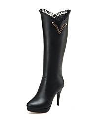 Mujer Botas Botas de Moda Semicuero Otoño Invierno Boda Fiesta y Noche Vestido Paseo Fruncido Tacón Stiletto Blanco Negro 10 - 12 cms