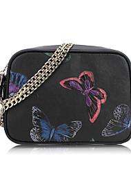 Women Shoulder Bag Cowhide All Seasons Casual Baguette Zipper Black