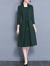 Для женщин На выход На каждый день Винтаж Шинуазери (китайский стиль) Изысканный Оболочка Платье Однотонный,Асимметричный вырезСредней