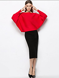 Mujer Simple Casual/Diario Otoño Invierno T-Shirt Falda Trajes,Escote Redondo Un Color Manga Larga