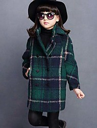 Girls' Plaid Jacket & Coat,Cotton Fall Winter Long Sleeve