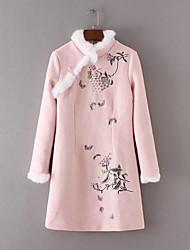 Feminino Solto Vestido,Festa Casual Simples Moda de Rua Sólido Bordado Colarinho Chinês Altura dos Joelhos Acima do Joelho Manga Longa