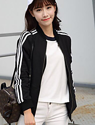 Women's Casual/Daily Hoodie Jacket Striped Stand Inelastic Cotton Long Sleeve Fall