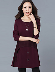 Women's Casual/Daily / Party/ Vintage / Street chic Sheath DressJacquard Round Neck Above Knee  Sleeve Red Rayon / PolyesterAll