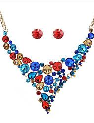 Mulheres Brincos Curtos Colar Moda Estilo Boêmio bijuterias Vidro Liga Forma Geométrica Para Casamento Festa Aniversário Presentes de