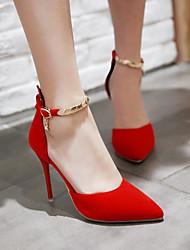 Damen Schuhe PU Frühling Komfort High Heels Stöckelabsatz Block Ferse Spitze Zehe Mit Für Normal Schwarz Rot