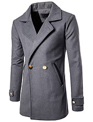 Men's Casual/Daily Simple Fall Winter Trench Coat,Solid Shirt Collar Long Sleeve Long Cotton