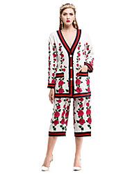 Dámské Jednobarevné Květinový Běžné/Denní Jednoduchý Trička Kalhoty Obleky-Podzim Do V Dlouhý rukáv